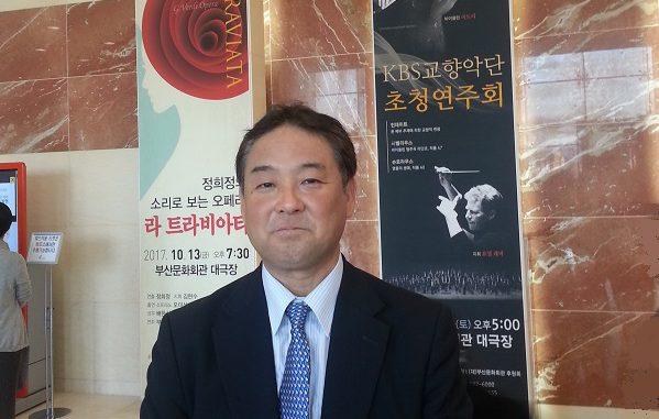 (2017年10月。釜山文化会館でのバイオリニスト五島みどりさんのKBS交響楽団招待演奏会の前に)